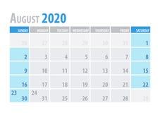Ημερολογιακός αρμόδιος για το σχεδιασμό 2020 Αυγούστου στο καθαρό ελάχιστο επιτραπέζιο απλό ύφος επίσης corel σύρετε το διάνυσμα  διανυσματική απεικόνιση