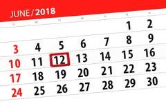 Ημερολογιακός αρμόδιος για το σχεδιασμό για το μήνα, ημέρα προθεσμίας της εβδομάδας, Τρίτη, στις 12 Ιουνίου του 2018 Στοκ φωτογραφίες με δικαίωμα ελεύθερης χρήσης