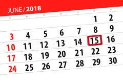 Ημερολογιακός αρμόδιος για το σχεδιασμό για το μήνα, ημέρα προθεσμίας της εβδομάδας, Παρασκευή, στις 15 Ιουνίου του 2018 Στοκ εικόνες με δικαίωμα ελεύθερης χρήσης