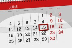 Ημερολογιακός αρμόδιος για το σχεδιασμό για το μήνα, ημέρα προθεσμίας της εβδομάδας, Παρασκευή, στις 15 Ιουνίου του 2018 Στοκ φωτογραφία με δικαίωμα ελεύθερης χρήσης