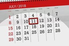 Ημερολογιακός αρμόδιος για το σχεδιασμό για το μήνα, ημέρα προθεσμίας της εβδομάδας, Τετάρτη, στις 11 Ιουλίου του 2018 Στοκ φωτογραφίες με δικαίωμα ελεύθερης χρήσης