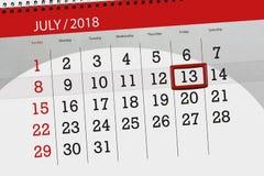 Ημερολογιακός αρμόδιος για το σχεδιασμό για το μήνα, ημέρα προθεσμίας της εβδομάδας, Παρασκευή, στις 13 Ιουλίου του 2018 Στοκ φωτογραφία με δικαίωμα ελεύθερης χρήσης