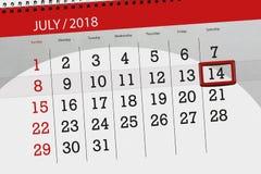 Ημερολογιακός αρμόδιος για το σχεδιασμό για το μήνα, ημέρα προθεσμίας της εβδομάδας, Σάββατο, στις 14 Ιουλίου του 2018 Στοκ Φωτογραφίες