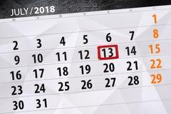 Ημερολογιακός αρμόδιος για το σχεδιασμό για το μήνα, ημέρα προθεσμίας της εβδομάδας, Παρασκευή, στις 13 Ιουλίου του 2018 Στοκ εικόνα με δικαίωμα ελεύθερης χρήσης