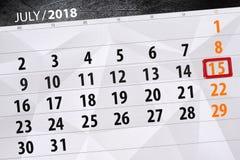 Ημερολογιακός αρμόδιος για το σχεδιασμό για το μήνα, ημέρα προθεσμίας της εβδομάδας, η Κυριακή, στις 15 Ιουλίου του 2018 Στοκ εικόνες με δικαίωμα ελεύθερης χρήσης
