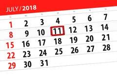Ημερολογιακός αρμόδιος για το σχεδιασμό για το μήνα, ημέρα προθεσμίας της εβδομάδας, Τετάρτη, στις 11 Ιουλίου του 2018 Στοκ Φωτογραφία