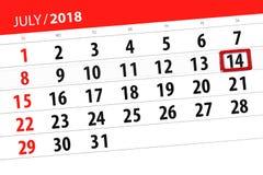 Ημερολογιακός αρμόδιος για το σχεδιασμό για το μήνα, ημέρα προθεσμίας της εβδομάδας, Σάββατο, στις 14 Ιουλίου του 2018 Στοκ Εικόνες
