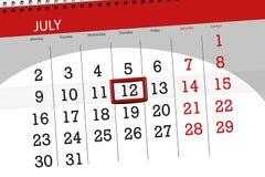 Ημερολογιακός αρμόδιος για το σχεδιασμό για το μήνα, ημέρα προθεσμίας της εβδομάδας, Πέμπτη, στις 12 Ιουλίου του 2018 Στοκ εικόνες με δικαίωμα ελεύθερης χρήσης