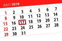 Ημερολογιακός αρμόδιος για το σχεδιασμό για το μήνα, ημέρα προθεσμίας της εβδομάδας, Τρίτη, στις 17 Ιουλίου του 2018 Στοκ φωτογραφία με δικαίωμα ελεύθερης χρήσης