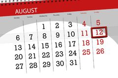 Ημερολογιακός αρμόδιος για το σχεδιασμό για το μήνα, ημέρα προθεσμίας της εβδομάδας, 2018 12 Αυγούστου, η Κυριακή Στοκ Φωτογραφία
