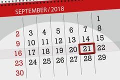 Ημερολογιακός αρμόδιος για το σχεδιασμό για το μήνα, ημέρα προθεσμίας της εβδομάδας, 2018 21 Σεπτεμβρίου, Παρασκευή στοκ εικόνες