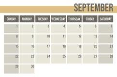 Ημερολογιακός αρμόδιος για το σχεδιασμό 2019 Μηνιαίος αρμόδιος για το σχεδιασμό Σεπτέμβριος απεικόνιση αποθεμάτων