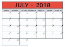 Ημερολογιακός αρμόδιος για το σχεδιασμό για τον Ιούλιο απεικόνιση αποθεμάτων