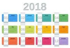 Ημερολογιακό 2018 έτος Διανυσματικός ζωηρόχρωμος αρμόδιος για το σχεδιασμό προτύπων απεικόνιση αποθεμάτων