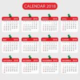 Ημερολογιακό 2018 έτος στο απλό ύφος Σχέδιο ημερολογιακών αρμόδιων για το σχεδιασμό Στοκ Φωτογραφία
