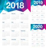 Ημερολογιακό διάνυσμα του 2020 του 2019 έτους 2018 Απεικόνιση αποθεμάτων
