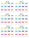 Ημερολογιακό διάνυσμα του 2023 του 2022 του 2021 του 2020 του 2019 έτους 2018 Στοκ Εικόνες
