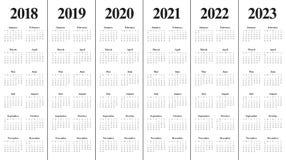 Ημερολογιακό διάνυσμα του 2023 του 2022 του 2021 του 2020 του 2019 έτους 2018 Διανυσματική απεικόνιση
