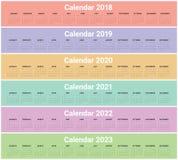 Ημερολογιακό διάνυσμα του 2023 του 2022 του 2021 του 2020 του 2019 έτους 2018 Απεικόνιση αποθεμάτων