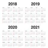Ημερολογιακό διάνυσμα του 2021 του 2020 του 2019 έτους 2018 απεικόνιση αποθεμάτων