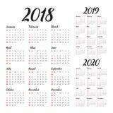 Ημερολογιακό διάνυσμα του 2020 του 2019 έτους 2018 Στοκ φωτογραφίες με δικαίωμα ελεύθερης χρήσης
