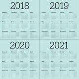 Ημερολογιακό διάνυσμα του 2021 του 2020 του 2019 έτους 2018 Ελεύθερη απεικόνιση δικαιώματος