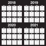 Ημερολογιακό διάνυσμα του 2021 του 2020 του 2019 έτους 2018 Στοκ Εικόνα