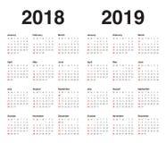 Ημερολογιακό διάνυσμα του 2019 έτους 2018 διανυσματική απεικόνιση