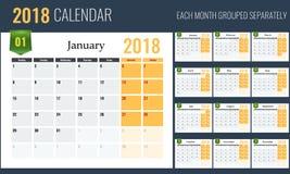 2018 ημερολογιακό πρότυπο, αρμόδιος για το σχεδιασμό, 12 σελίδες Στοκ εικόνα με δικαίωμα ελεύθερης χρήσης