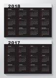 Ημερολογιακό πρότυπο για το 2017 και 2018 έτη Στοκ φωτογραφίες με δικαίωμα ελεύθερης χρήσης