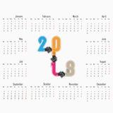 2018 ημερολογιακό πρότυπο Ημερολόγιο για το έτος του 2018 Διανυσματικό σχέδιο STAT Στοκ Φωτογραφία