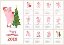 2019 ημερολογιακό πρότυπο Νέος χαρακτήρας χοίρων εορτασμού έτους στους διανυσματικούς μήνες ημερολογίων σχεδιαγράμματος σελίδων η διανυσματική απεικόνιση