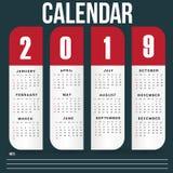 Ημερολογιακό πρότυπο τοίχων για το έτος του 2019 ελεύθερη απεικόνιση δικαιώματος