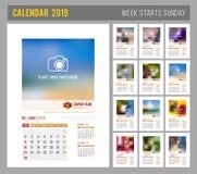 Ημερολογιακό πρότυπο 2019 Στοκ Φωτογραφία