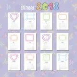 Ημερολογιακό 2018 πρότυπο Doodle Στοκ Εικόνα