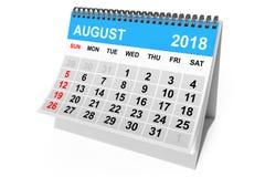 Ημερολογιακό τον Αύγουστο του 2018 τρισδιάστατη απόδοση Στοκ φωτογραφία με δικαίωμα ελεύθερης χρήσης