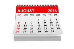 Ημερολογιακό τον Αύγουστο του 2018 τρισδιάστατη απόδοση Στοκ Εικόνες