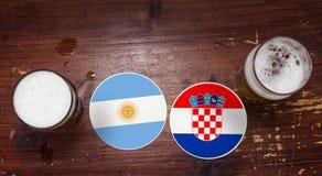 Ημερολόγιο αντιστοιχιών Παγκόσμιου Κυπέλλου 2018, υπόβαθρο ιπτάμενων έννοιας χαλιών μπύρας Αργεντινή εναντίον της Κροατίας στοκ φωτογραφίες με δικαίωμα ελεύθερης χρήσης