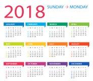 2018 ημερολόγιο - απεικόνιση Στοκ φωτογραφίες με δικαίωμα ελεύθερης χρήσης
