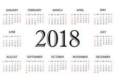 Ημερολόγιο 2018 Απλό ημερολογιακό πρότυπο για το έτος 2018 Άσπρη ανασκόπηση Στοκ εικόνες με δικαίωμα ελεύθερης χρήσης