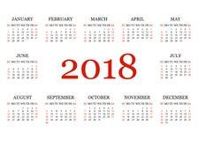 Ημερολόγιο 2018 Απλό ημερολογιακό πρότυπο για το έτος 2018 Άσπρη ανασκόπηση επίσης corel σύρετε το διάνυσμα απεικόνισης Στοκ Φωτογραφία