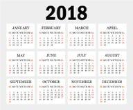 Ημερολόγιο 2018 Απλό ημερολογιακό πρότυπο για το έτος 2018 Γκρίζα ανασκόπηση επίσης corel σύρετε το διάνυσμα απεικόνισης Στοκ Φωτογραφία