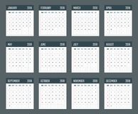 Ημερολόγιο για την Κυριακή ενάρξεων του 2018, διανυσματικό έτος ημερολογιακού σχεδίου 2018 απεικόνιση αποθεμάτων