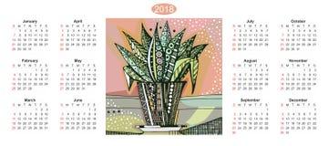 Ημερολόγιο για το έτος του 2018 με συρμένο χέρι doodle houseplant flowerpot Στοκ φωτογραφίες με δικαίωμα ελεύθερης χρήσης