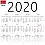 Ημερολόγιο 2020, δανικά, Δευτέρα διανυσματική απεικόνιση