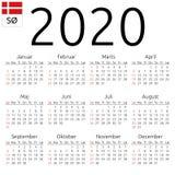 Ημερολόγιο 2020, δανικά, η Κυριακή ελεύθερη απεικόνιση δικαιώματος