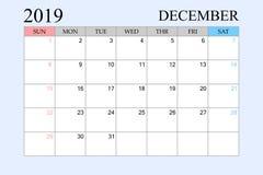 2019 ημερολόγιο, Δεκέμβριος, αρμόδιος για το σχεδιασμό σχεδίου, διοργανωτής, έναρξη εβδομάδων από την Κυριακή ελεύθερη απεικόνιση δικαιώματος