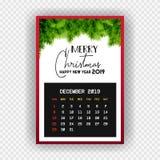 Ημερολόγιο Δεκέμβριος καλής χρονιάς 2019 Χριστουγέννων διανυσματική απεικόνιση