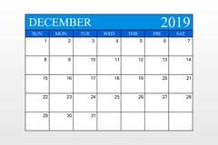 2019 ημερολόγιο, Δεκέμβριος, μπλε θέμα, αρμόδιος για το σχεδιασμό σχεδίου, διοργανωτής, έναρξη εβδομάδων από την Κυριακή διανυσματική απεικόνιση