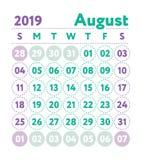 Ημερολόγιο 2019 Διανυσματικό αγγλικό ημερολόγιο Μήνας Αυγούστου Έναρξη εβδομάδας απεικόνιση αποθεμάτων
